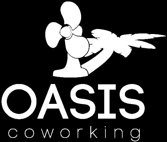 logo de l'oasis coworking en blanc